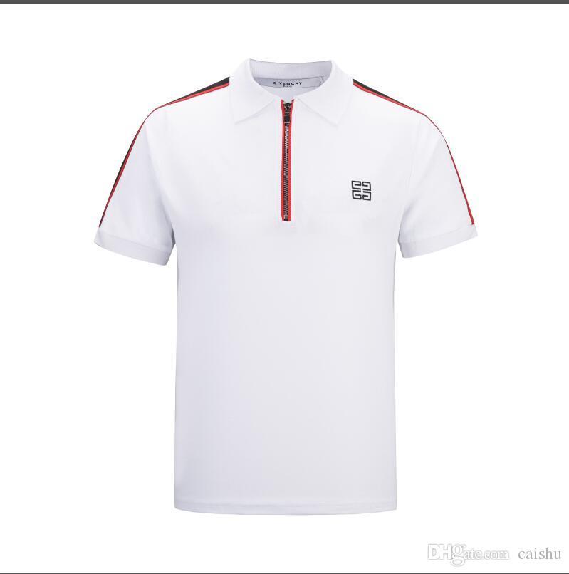 19 Top top de la camisetaMens Designer T Shirts Negro Blanco Rojo Mens Fashion Designer T Shirts