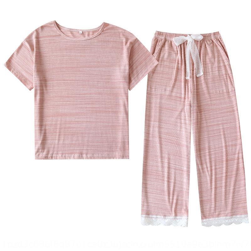 ffNa5 pijama yaz yeni modal ince kadın kısa kollu elbise pantolon 20 gevşek büyük boy giyim giysi ev clotheslace ev Capri dantel