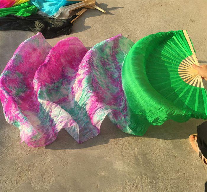Free Shipping Belly Dance Fan Veils 100% Silk Dancer Fan Tie Dyed Colorful Purple Blue Red 120cm 150cm 180 / 210 Free Shipping