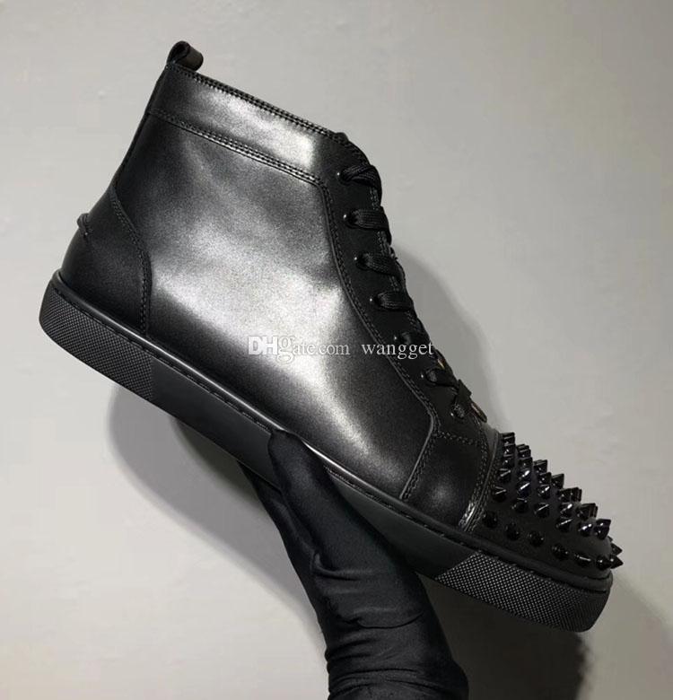 Outono e Inverno Luxo Alto Superior Vermelho Sapatos Preto, Azul Genuíno Couro Casual Passeio Marca Skate Sapatilhas Tênis 35-46