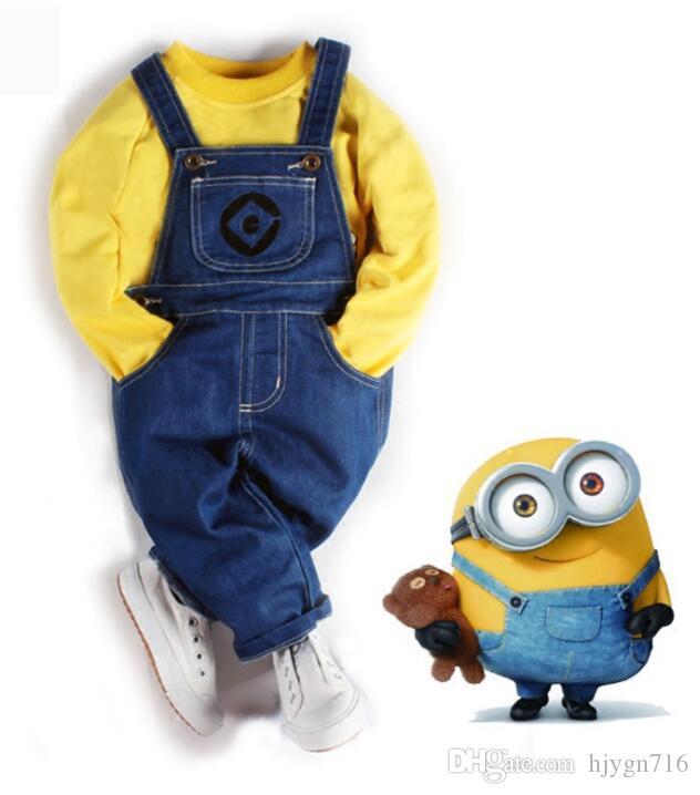 2019 New Children 's Wear 폭발성 Little Yellow Jeans Belt Pants 유럽과 미국의 Little Yellow Guard Suit Best-selling new models