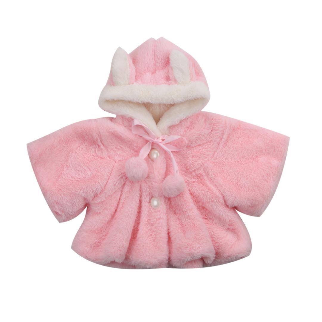 Симпатичное Зимнее пальто для девочки Новорожденных малышей Baby Girl Мех с длинным рукавом 3D ухо с капюшоном Пальто Плащи Жакет Верхней одеждой Одежды детской зимней комбинезоном