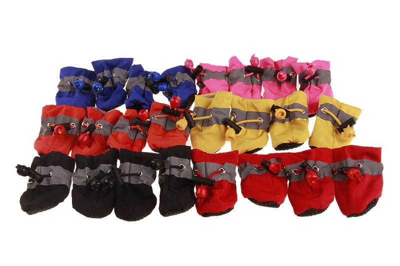 10Sets/Lot 4 pieces Per Set Pet Spring Soft Overshoes Dog Summer Winter Snow Boots Shoes Dog Waterproof Shoes