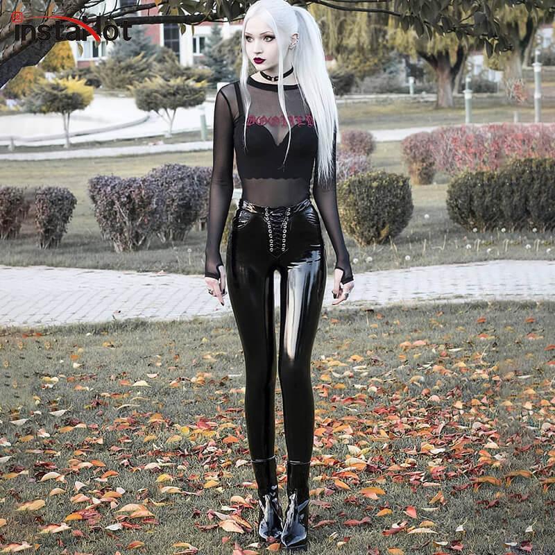 InstaHot Sexy Faux Leather verniciato pantaloni Lace Up Alta vita sottile ghette scarne punk gotico pantaloni della matita delle signore pantaloni casual