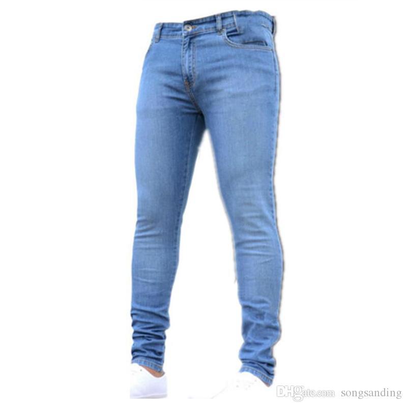 Оптовая продажа-Новый 2019 мужские брюки тонкий карандаш брюки мальчики джинсы Узкие брюки повседневные брюки Мужские джинсы 1083