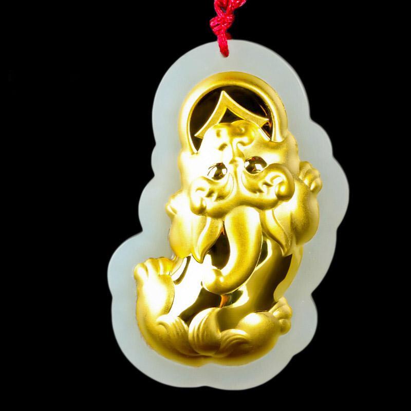 Giada cinese gioielleria in oro giada Ciondolo giada di Hetian PIXIU pendente uomini e donne paio collana Zhuanyun fortunato Amuleto