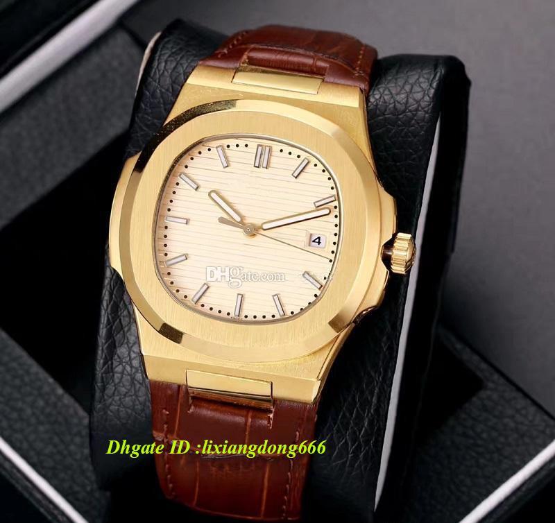 Venda quente de Luxo de Alta Qualidade Pulseira De Couro Relógio Mecânico Automático Mostrador Azul de Ouro de Aço Inoxidável Nautilus Homens Mens Relógios