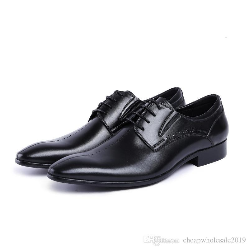 Novo mens sapatos de couro genuíno sapatos de dedo apontado lace derby sapatos de casamento homens oxford business work shoes homem plus size 37 44