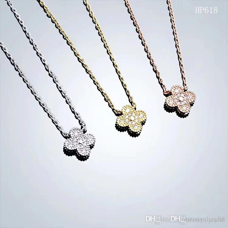2019 stainless steel jewelry designer necklace four-leaf flower necklace luxury designer jewelry women necklace iced out chains