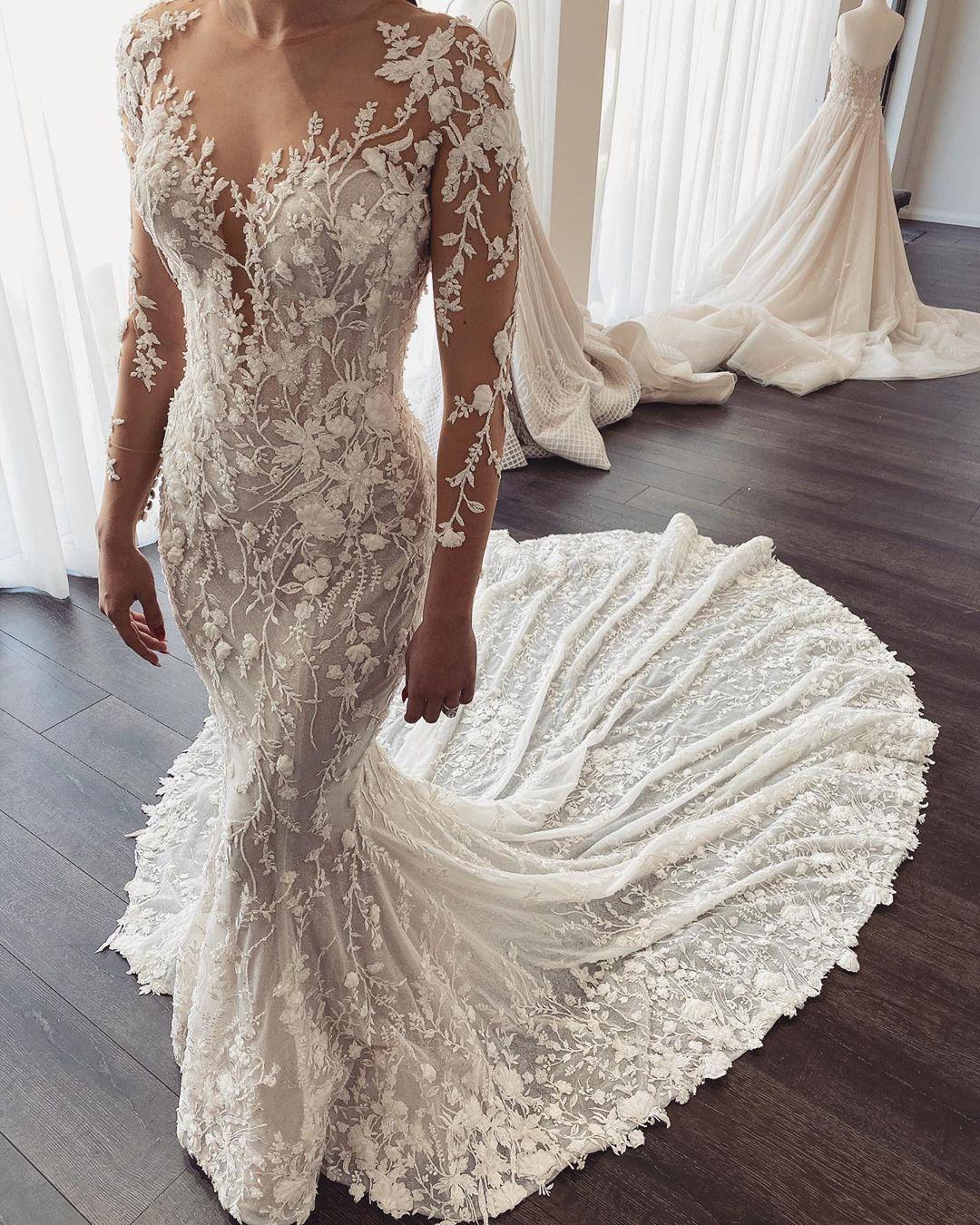 Arabisch Aso Ebi Luxurious Sheer Ausschnitt Brautkleider Spitzen Perlen Mermaid Brautkleider mit langen Ärmeln Brautkleider ZJ251 2020 Plus Size