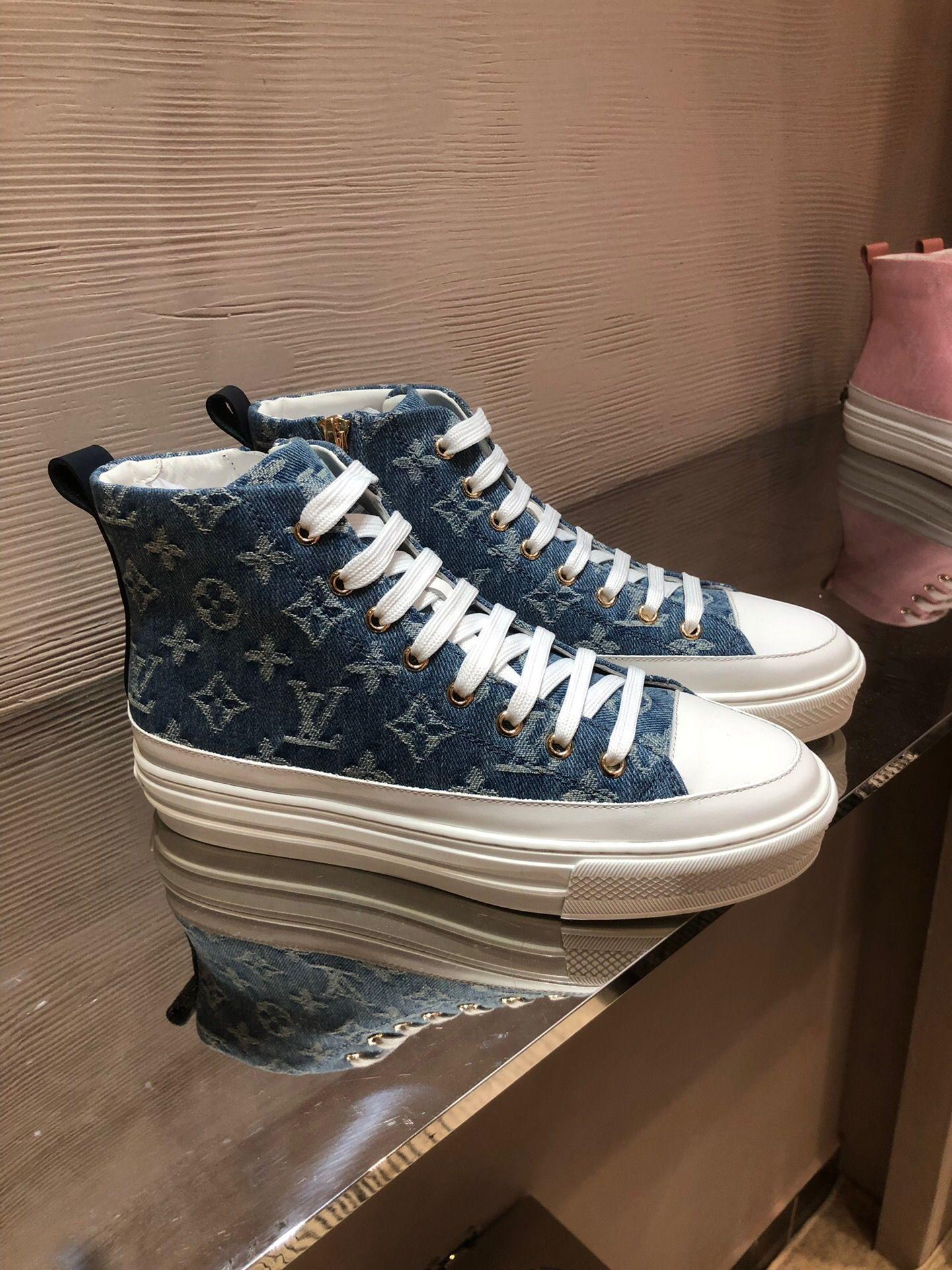 louis vuitton LV Fastlane Sneaker Denim Monogram Luxury DESIGNERS Womans Lace Up Sneakers Femmes Mode Baskets Concepteurs Outdoor Chaussures Casual