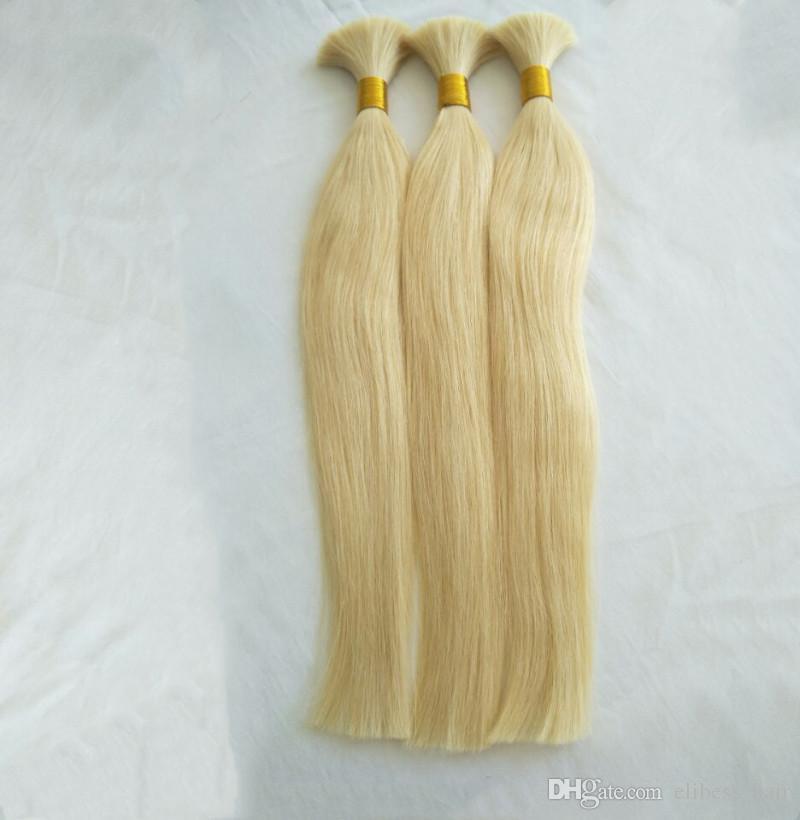 Brasilianische Gerade Haar 300g Lot einschlag keine Menschenhaarmasse zum Flechten Blonde Colro 613 #, freies DHL