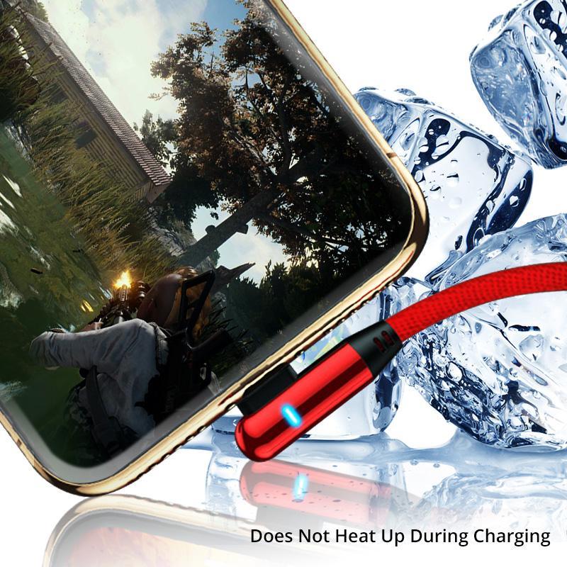 Lampada a LED 2.4a 90 gradi tipo C Cavo USB per S10 Huawei Micro USB Fast Charging Data Cavo Android Dispositivi Android Telefono Cavo del caricatore USB C