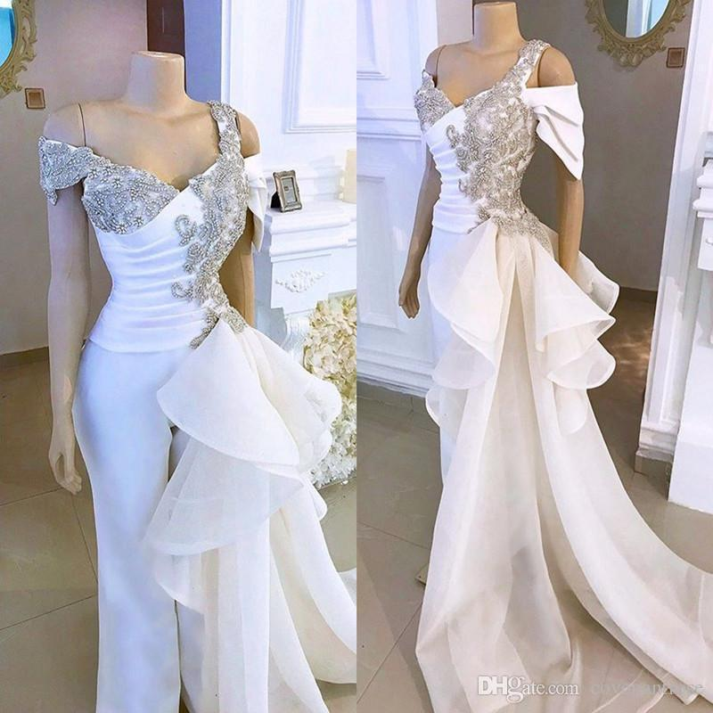 2020 New White Prom Jumpsuit with Crystal Detailing and Detachable Side Peplum Tail Off shoulder Mermaid Evening Gown Pant Suit