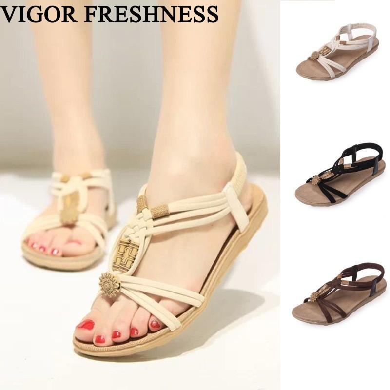 VIGOR FRESHNESS Flat Heels Sandals Women Summer Shoes Retro Woman Shoes Bohemia Beach Sandals Weave String Bead Wood WY237