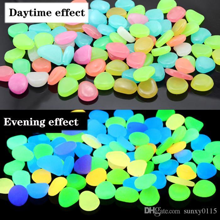 100 pz / borsa Glow Stones In the Dark Luminoso Ciottoli Pietre Per acquario Matrimonio Serata romantica Eventi festivi Decorazioni da giardino Artigianato