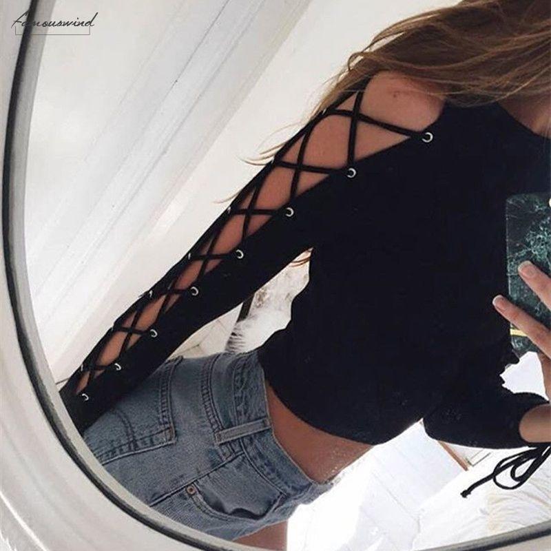 Fashion Sexy Frauen-lange Hülsen-beiläufige Crop Tops Bandage aushöhlen schnüren sich oben dünne T-Bluse Herbst Frühling Schwarz Kurz Hot