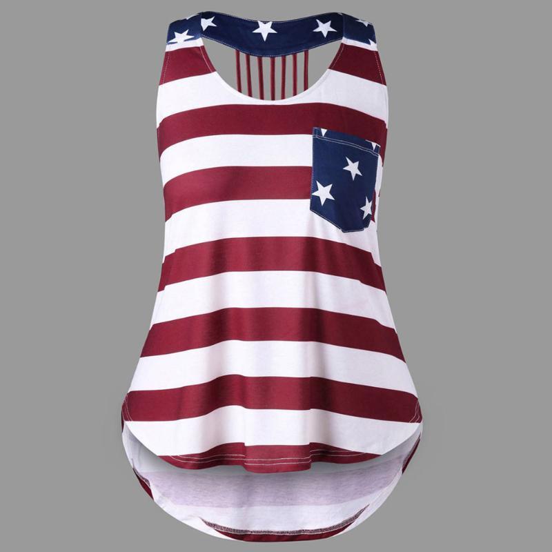 Femmes Casual a affligé le drapeau américain sans manches Débardeurs Chemisier Blusas Mujer De Moda 2020 Camisa Feminina Hauts femmes