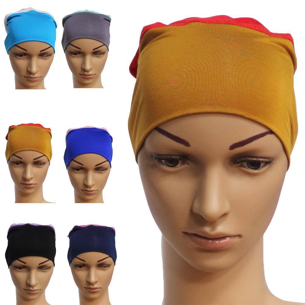 Frauen Schlauch Cap-Kopf-Verpackung moslemisches Hijab Modal Haarausfall Cap Patchwork Inner Chemo-Hut Indien Mittlerer Osten Kontrast-Farben-Bonnet New
