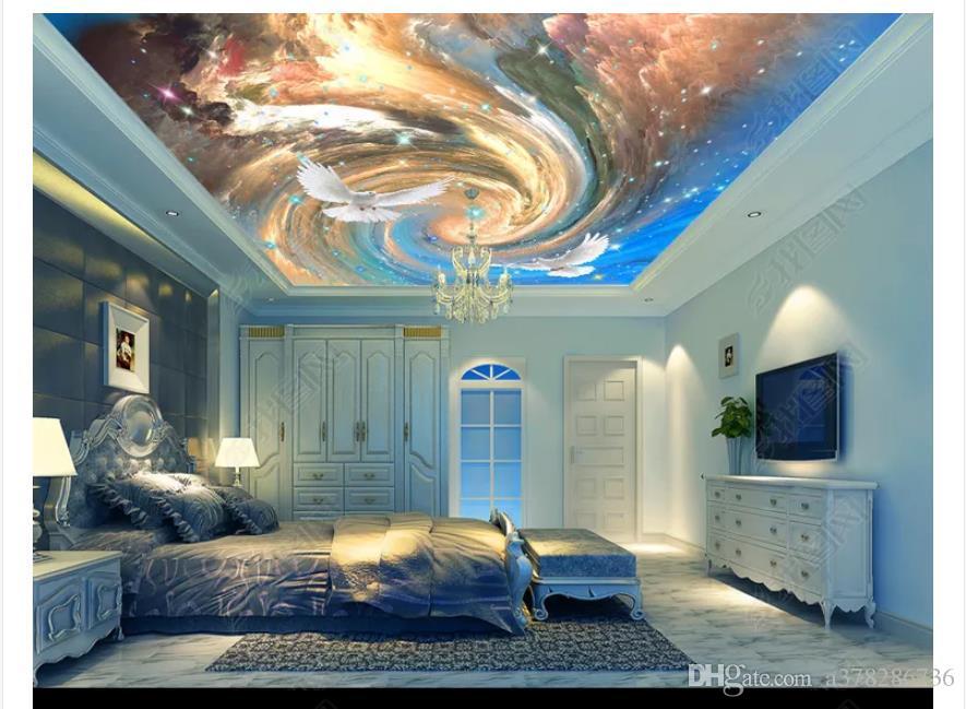 3D пользовательских шелковые Зенит потолок фреска фото обои Dream небо облако Голубь Зенит фон Спальня Гостиная потолочные фрески papel де parede