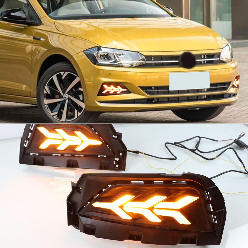 1 مجموعة السيارات DRL LED النهار الجري الخفيف مصباح الضباب متسلسل الأصفر بدوره إشارة وظيفة لفولكس واجن بولو 2019 2020