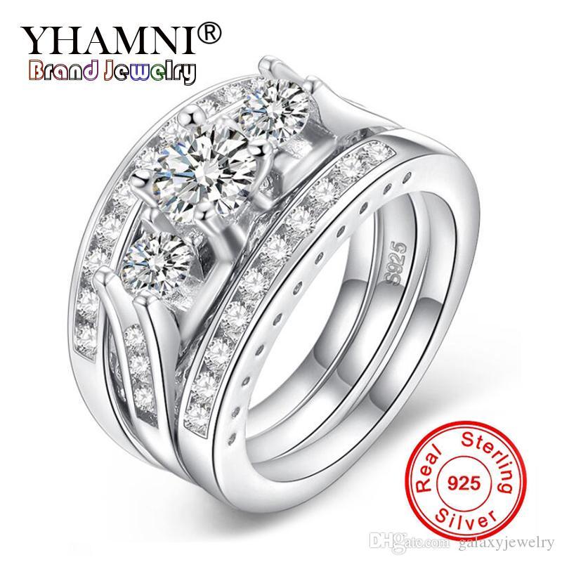 YHAMNI Elegante Anéis de Noivado de Casamento Conjunto 3 PCS 100% 925 Acessórios de Anel de Prata Esterlina CZ Zircon Jóias LRA0137