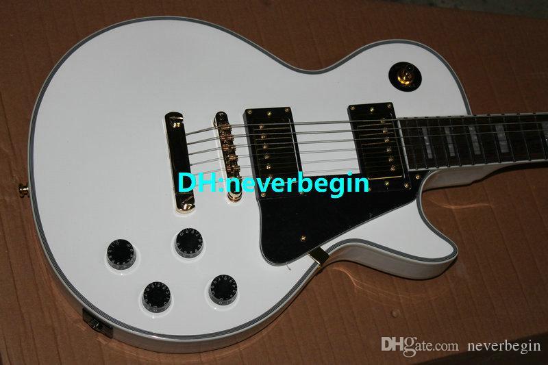 Commercio all'ingrosso di nuovi accessori in oro bianco chitarra elettrica bianca produttore di chitarra professionale, benvenuto per personalizzare