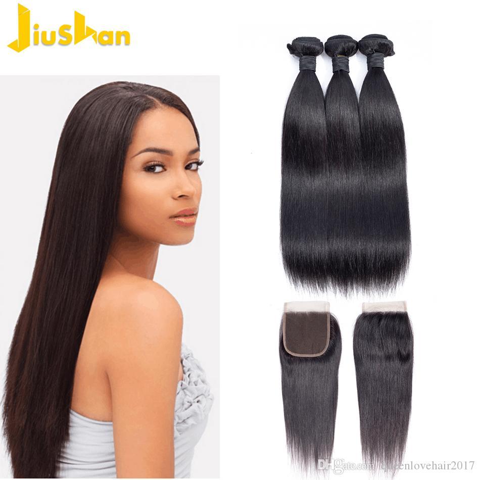الشعر حزم مستقيم نسج البرازيلي الإنسان الشعر حزم مع إغلاق 8-30 بوصة حزم غير ريمي الشعر