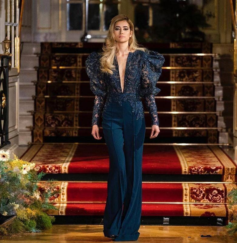Elie Saab 2020 Jumpsuits Navy Blue Evening Dresses Long Sleeve Lace Appliqued Beaded Formal Prom Dress African Robes De Soirée