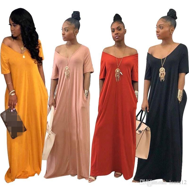 2020 Hot Sale solto Lazer Mulheres vestido longo manga curta V Neck Simples sólido até o chão Casual vestidos de verão 6 cores