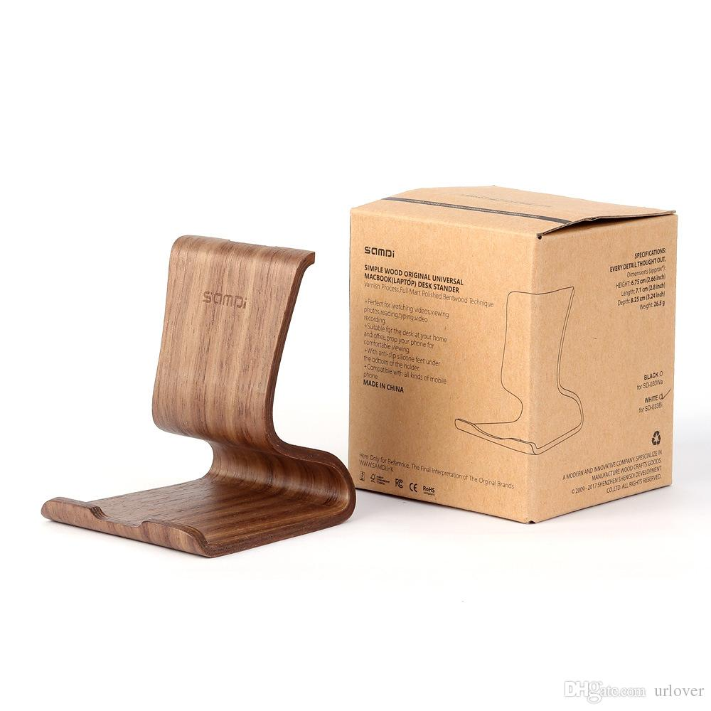 Wooden Bamboo Universal Smartphone Stand Holder Tablet Stands Lightweight Slim Cellphone Stand for iPhone Xs Max XR X for iPad