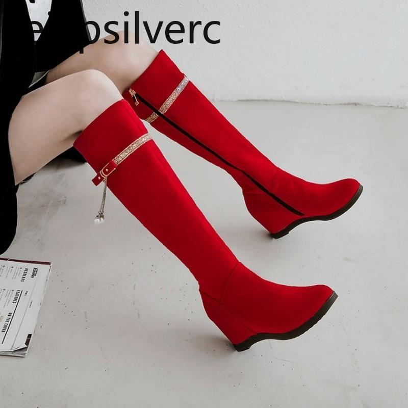 da donna stivali la nuova moda inverno interna con cerniera aumentare scarpe tacco alto a metà tubo delle donne più di formato 33-43 tallone Altezza 6cm