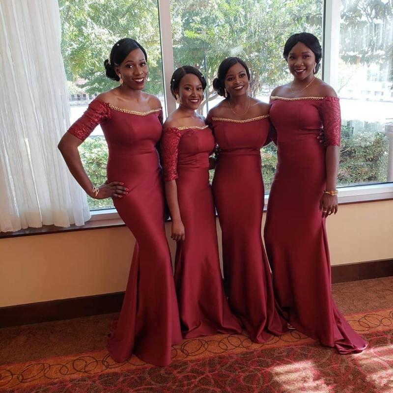 Burgundy Satin Mermaid Bridesmaid Dress with Short Lace Sleeves 2020 Zipper Back Party Dresses Beaded Prom Gown