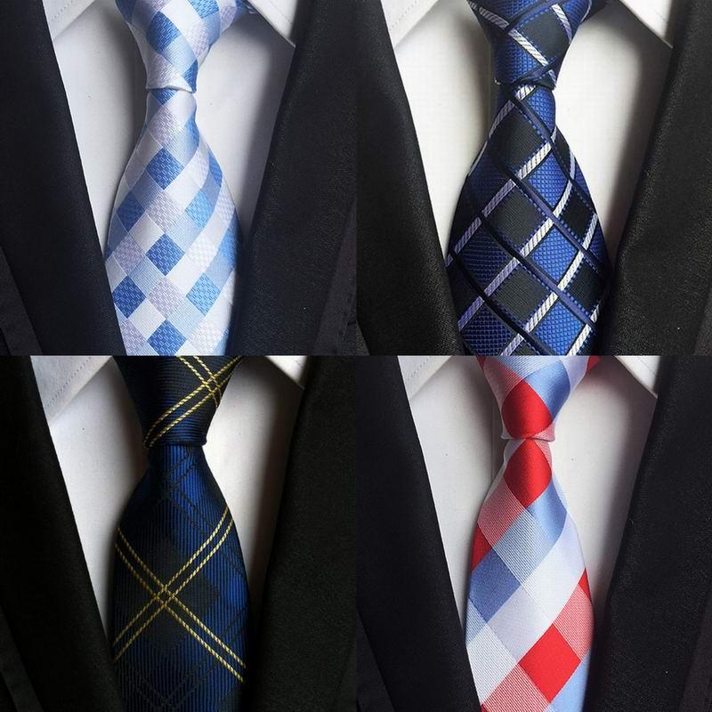 SKng Clássico 100% De Seda Dos Homens Laços Novo Design Gravatas 8 cm PlaidStriped para Homens Festa de Casamento Formal Negócios Gravatas