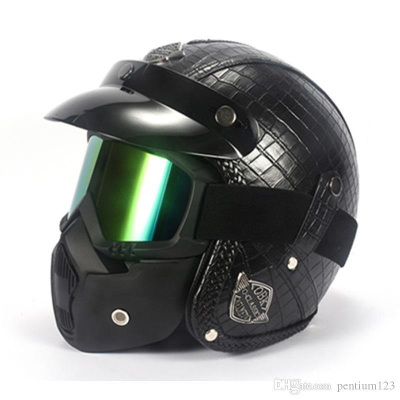 Motosiklet Kask Vintage Retro Moto Kask Motosiklet Tam Yüz Kask Casco Moto Cruiser Chopper Cafe Racer Capacetes Moto Maskesi