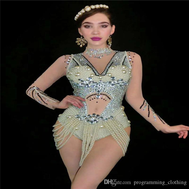 V7 Catwalk effectuer maille robes en strass manches longues blanc perle strass justaucorps pompon perspective costume collant dj club party porte