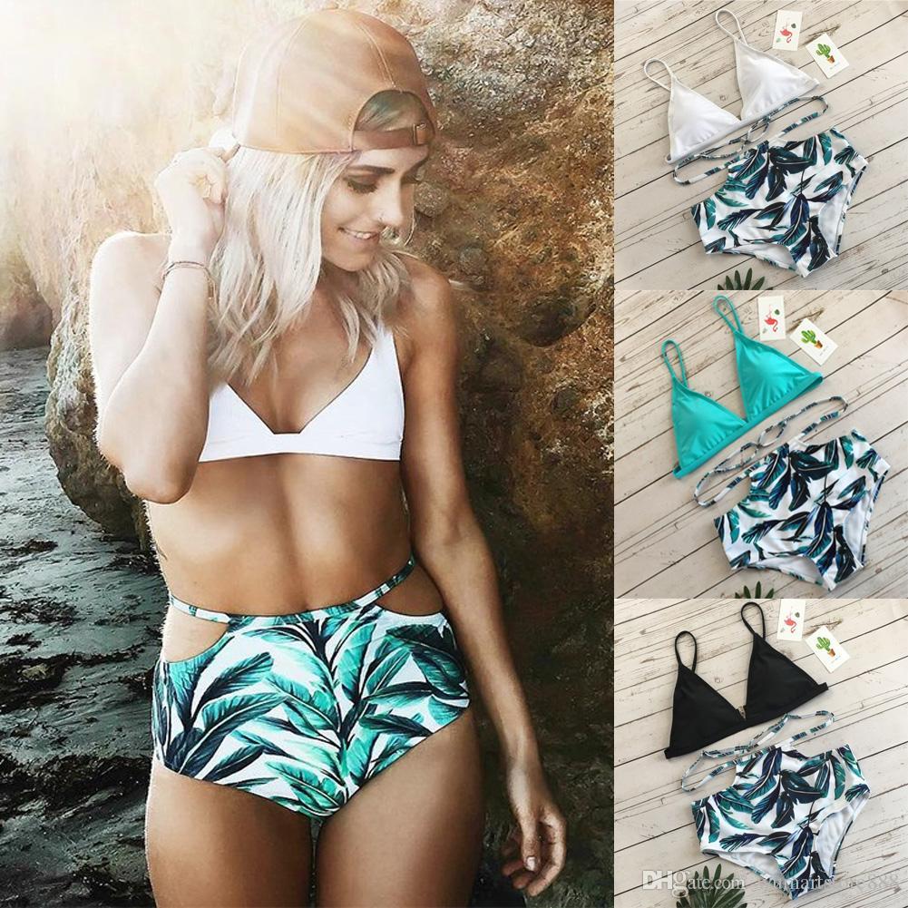 Empurre Verão Sexy New Style Womens cintura alta Bikini Set brasileira Up Bra Swimsuit de banho Swimwear Costume Praia