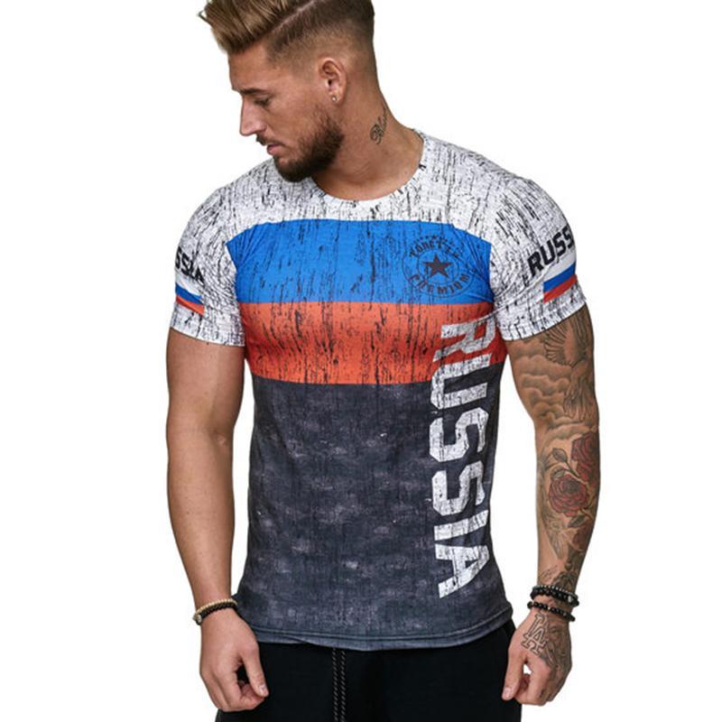 Мужские футболки Швеции Испания Португалия Россия футболка 2021 Флаг моды Распечатать с короткими рукавами Мужчины летняя Повседневная Ежедневная Спортивная одежда Футболка