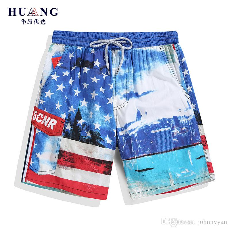 Beach Shorts Mens Usa National Flag Special Font Funny Summer Quick-drying Swim Trunks Cargo Shorts