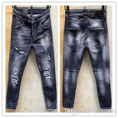 2020 nueva marca de pantalones vaqueros ocasionales de los hombres americanos, el lavado de alto grado, moler a mano puro Europea de moda y, optimización de la calidad LT975