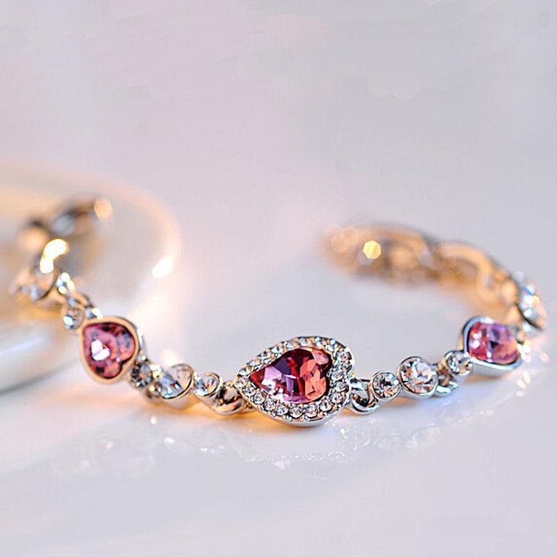 Corazón de la moda de la pulsera del corazón del amor del amor de cristal pulseras del encanto lleno del brazalete de diamantes mujeres declaración joyería regalo de Navidad 160665