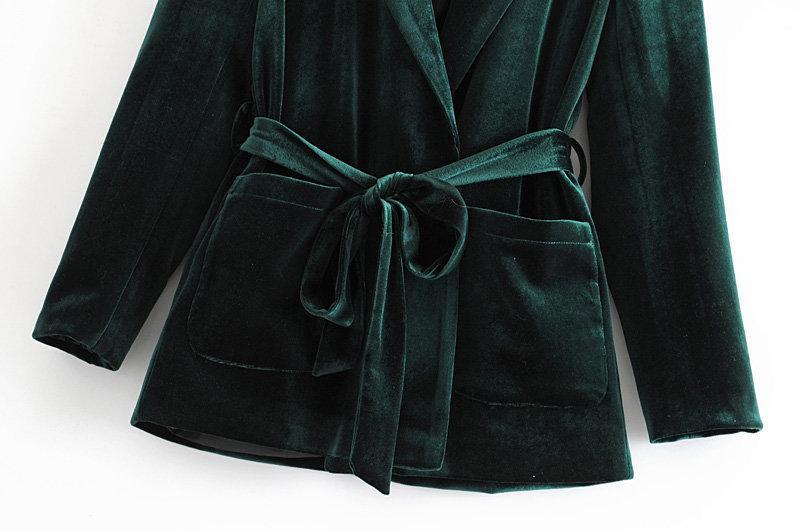 Automne nouvelle veste femme de couleur unie 2019 automne nouvelle ceinture de velours double poche veste mince blazer Femme
