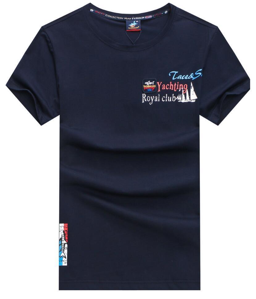 En iyi 2019 marka Yeni Erkek tişört moda styleSummer kısa Kol Rahat nefes taceshark tişört Erkekler pamuk tişört 011 satan
