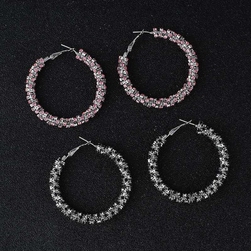핑크 / 블랙 / 화이트 크리스탈 후프 귀걸이 실버 도금 금속 라운드 서클 라인 석 대형 후프 귀걸이 여성 보석 E632에 대한