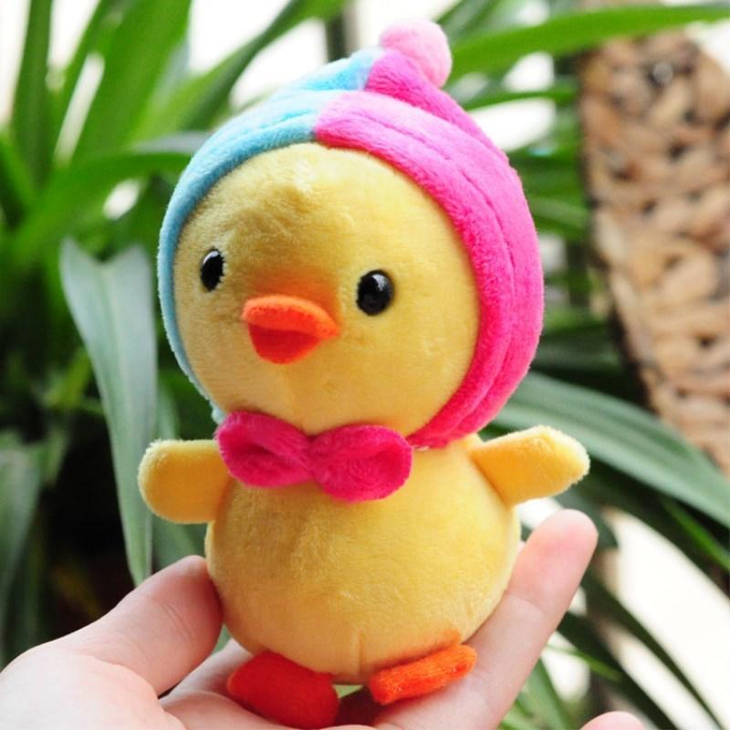10 centímetros Plush galinha amarela Stuffed Ponto Macio Boneca animal bonito dos desenhos animados Plushing brinquedo para crianças chaveiro pingente Plushs