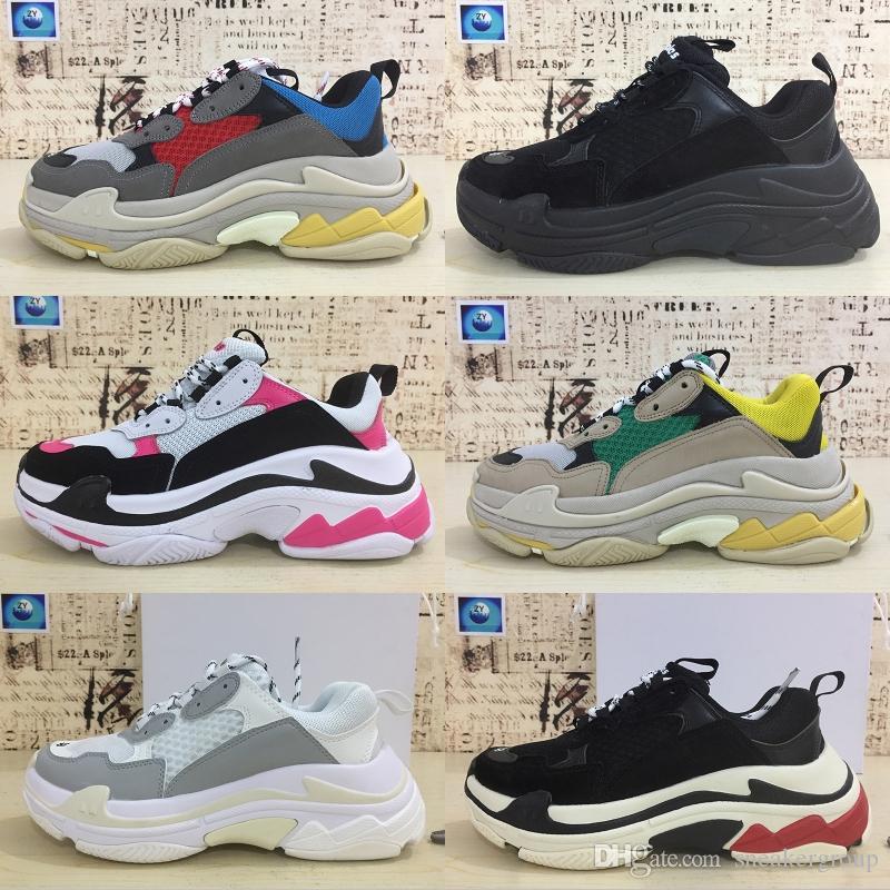 Комфортабельной Париж 17FW Тройной Моды кроссовки мужчины женщина белой черная кожа Дешевая Повседневная плоские туфли теннис партия Фланец платформа для обуви