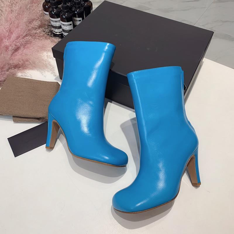 حار بيع- الخريف والشتاء جديد مصمم الأزياء والأحذية الجلود رئيس شقة رئيس مربع ارتفاع كعب السيدات أحذية عالية اللباس أحذية الزفاف اليومي