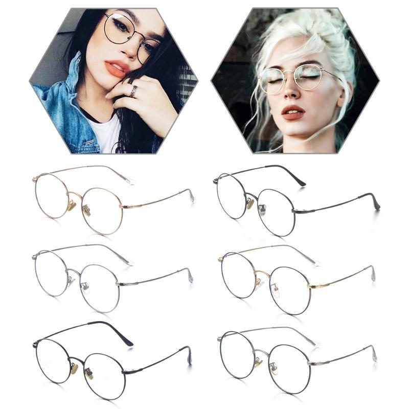Classic Retro Round Frame Flat Glasses Fashion Blue Light Blocking Glasses Anti Glare UV Filter Computer Goggles Gaming