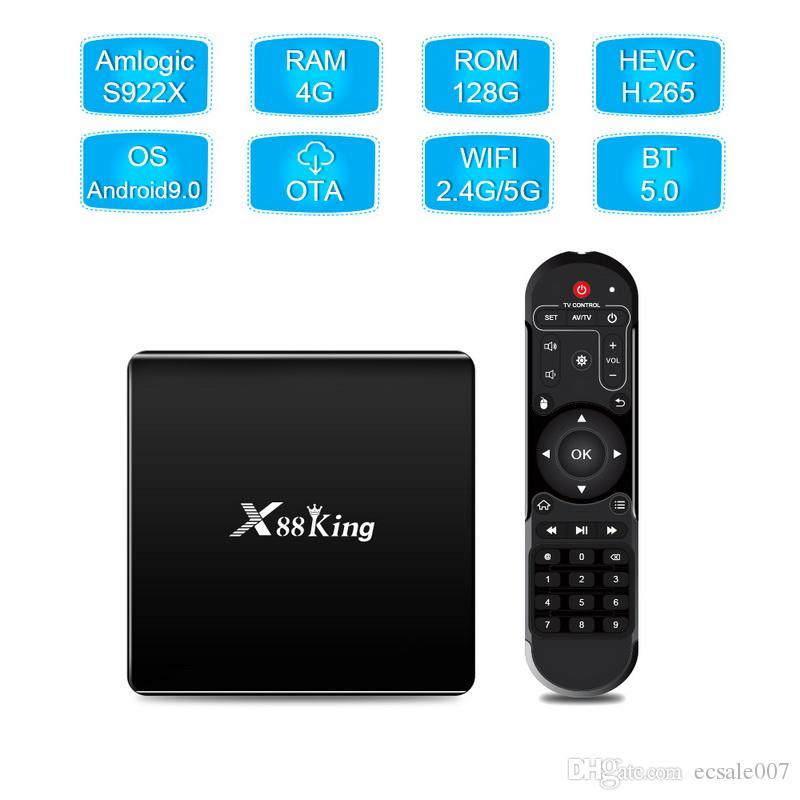 X88 King Android 9.0 TV Box S922X HEXA-CORE MALI-G52 MP6 LPDDR4 4GB 128GB المزدوج واي فاي بلوتوث 5.0 1000 متر لاعب LAN