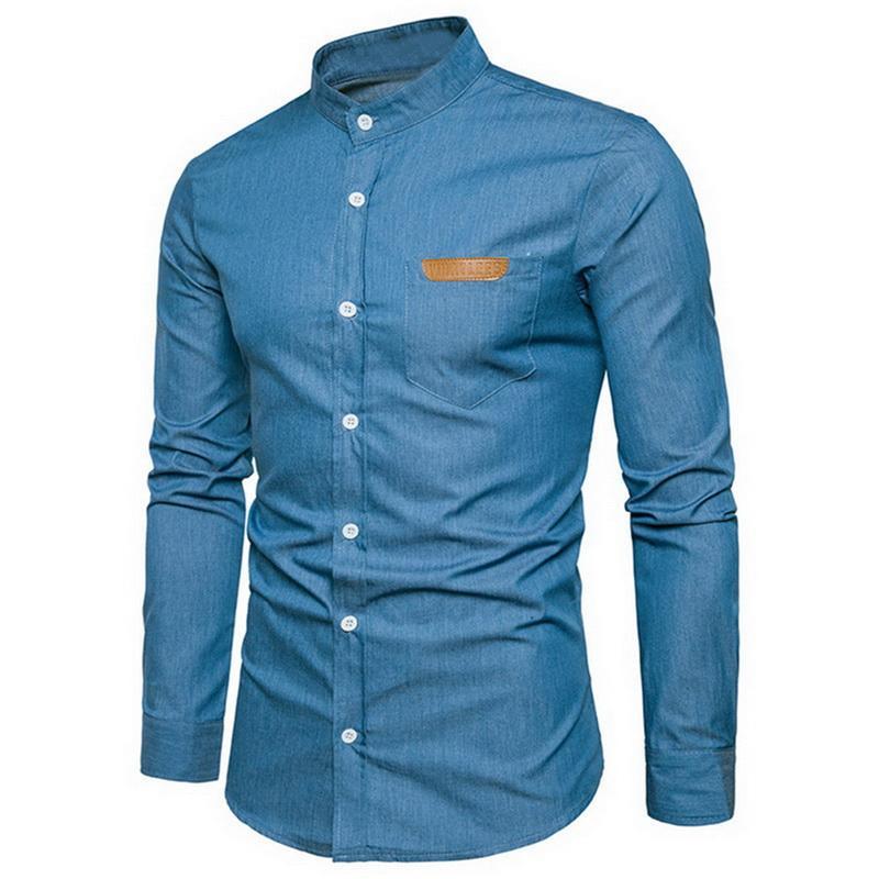 2019 nuevos hombres ocasional de la camisa de manga larga Henley soporte de cuello del ajustado de los hombres camisa camisas del negocio coreano de imitación de los pantalones vaqueros Tamaño de la UE
